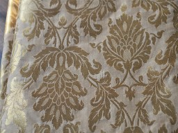 "44"" Gold Designer On Beige Fabric By The Yard With Tiny Leaf Design Christmas Supplies Home Decor Crafting Sewing Indian Quilting Saree Border Traditional Blended Silk Banarasi Brocade Fabric"