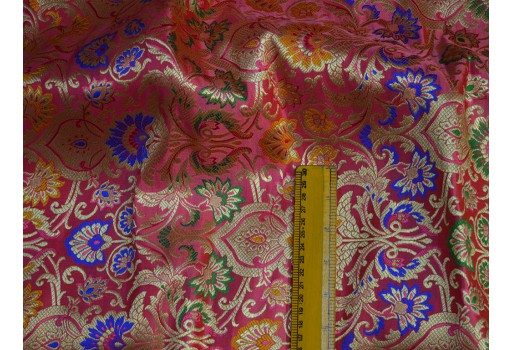 Coral red banarasi brocade fabric by the yard indian fabric for wedding dress lehenga sewing crafting costume dress material cushion covers