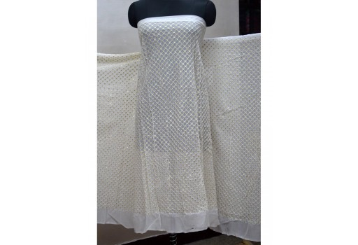Crafting sewing costumes chikankari dye-able indian sequin saree white georgette sequined wedding dress embroidered