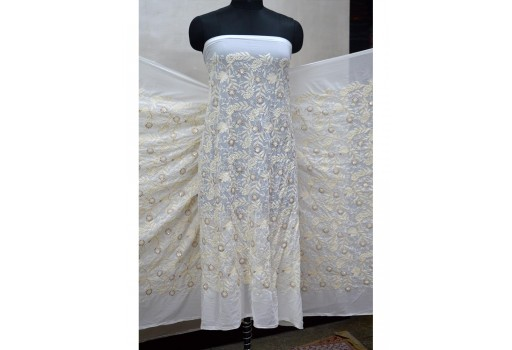 Dye-able embroidered fabric by the yard sequin saree white georgette sequined wedding dress crafting sewing costumes chikankari