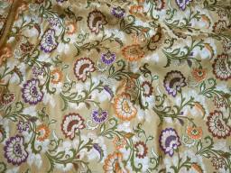 Dark beige gold brocade fabric banarasi fabric wedding dress fabric varanasi fabric crafting sewing costumes lengha banaras