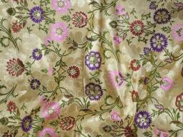 Dark beige indian silk brocade banarasi dress material crafting sewing banaras wedding dress fabric cushion covers brocade fabric for home furnishing