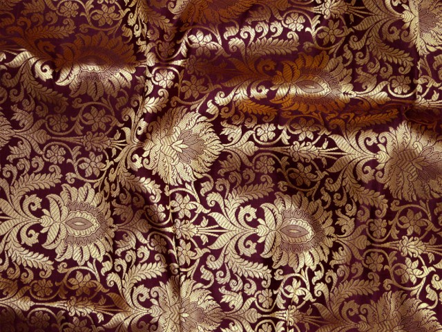 Wine gold brocade fabric banarasi fabric wedding dress fabric banaras fabric crafting sewing cushion cover table runners curtain