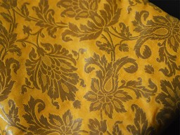 Silk Brocade Fabric in Yellow and Gold with Motifs Weaving