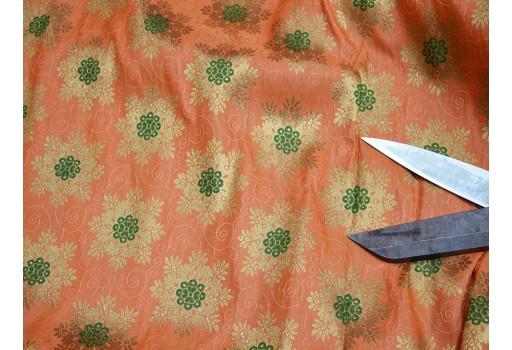 Banarasi silk Peach brocade Crafting material Sewing Jacquard Fabric Skirt making Brocade Fabric Wedding Dress bridesmaid Costumes Coat Dolls making dresses fabric