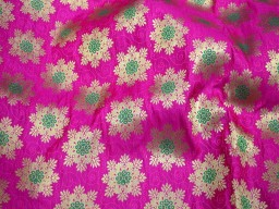 Banarasi golden flower design magenta wedding floral dress making  fabric brocade crafting sewing jacquard fabric designer skirt brocade fabric making table runner fabric bridesmaid costumes coat dolls fabric banarasi brocade