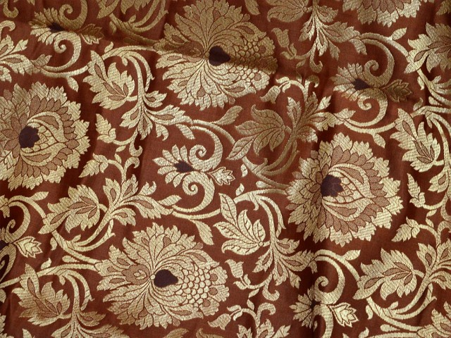 Brown brocade banarasi floral wedding lehenga dress Pillows table runner making brocade crafting sewing dresses fabric jackets cushion covers curtains furnishing brocade