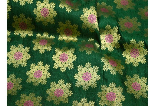 Banarasi silk brocade lehenga making dress material green wedding dress fabric crafting sewing jacquard fabric skirt brocade fabric bridesmaid costumes coat dolls making costume fabric table runner brocade fabric