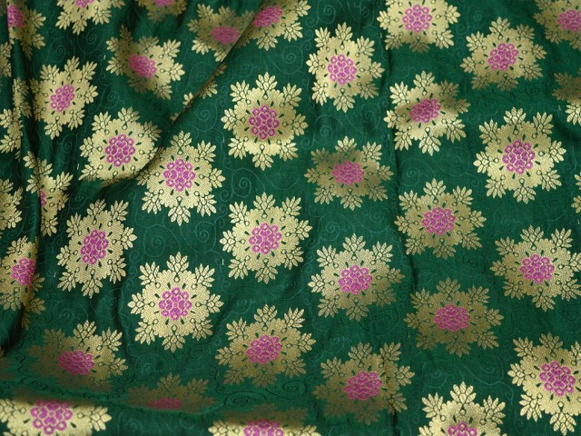 Banarasi Blended Silk Brocade by the yard Lehenga Making Material Green Wedding Dress Crafting Sewing Skirt Bridesmaid Costume Fabric Table Runner Brocade