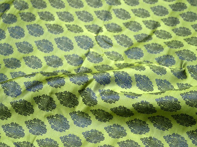 Green Indian jacquard fabric for bow ties skirts vest jacket cushion covers brocade fabric by the yard wedding dress fabric bridesmaid dress banaras sewing crafting fabric