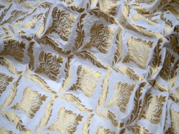 Fabric by the yard dresses home décor vest coat brocade  dye able wedding lehenga fabric indian brocade bridesmaid sewing crafting jackets costume  pure white gold fabric skirts table runner brocade blended silk