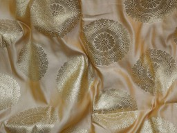 Bridesmaid beige brocade banaras fabric sold by the yard dresses home decor cushion covers indian brocade sewing crafting table runner wholesale banarasi silk wedding lehenga doll making fabric