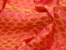 Orange jacquard fabric wedding dresses lehenga brocade by the yard fabric home furnishing boutique material brocade Indian sewing crafting cushion covers table runner vest jacket fabric