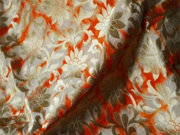 Silk Brocade Fabric in Beige, Orange and Gold motifs Pattern