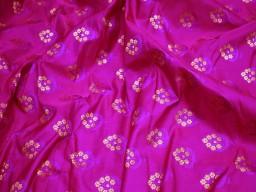 Magenta jacquard fabric bridesmaid wholesale indian wedding lehenga banarasi brocade sold by the yard fabric sewing crafting cushion covers skirts ties vest coat home furnishing making brocade