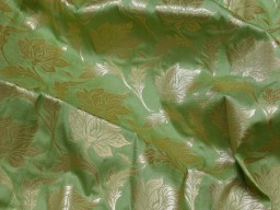 Indian pistachio green banaras brocade sold by the yard fabric wedding lehenga boutique material craft supplies blouses sherwani clothing accessories cushion covers fabric