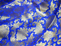 Blue and Gold  Silk Brocade Fabric Motifs Weaving Indian Silk