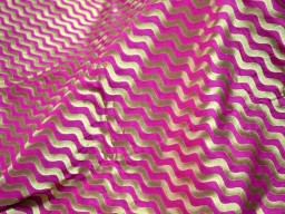 Brocade  Silk Fabric in Magenta and Gold in Wave Pattern