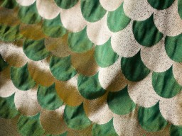 Brocade Fabric in Green and Gold in Scallop Pattern Twin Shades Art Silk fashion blogger woman dress making Wedding Dress Clothing Accessories Home Decor