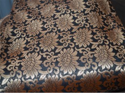 Brocade Fabric sold by yard Black with gold flowers pattern Art silk Indian wedding blouses sewing crafting fashion blogger Home Decor Cushion Covers