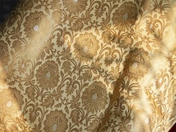 Blended Silk Brocade Fabric Beige Gold Weaving