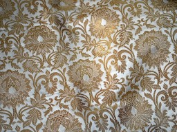 Brocade Fabric in Cream Gold Weaving Banaras Brocade Fabric Wedding Dress Fabric Banarasi Art Silk by the Yard