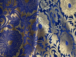 Navy Blue Brocade Fabric by the Yard for Wedding Dress Fabric Banarasi Fabric Banaras Blended Silk Fabric brocade