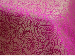 Brocade Fabric Hot Pink Gold brocade jacquard fabric Art silk fabric Indian Banarasi Brocade fabric wedding fabric