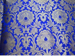 Silk Brocade Fabric in Royal Blue Gold Bridal Banarasi Brocade Fabric Indian Silk Wedding Dress Fabric Brocade Fabric by the Yard