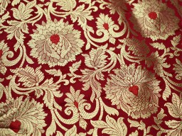 Red Brocade Fabric Banarasi Brocade Fabric by the Yard Banaras Brocade Red Gold Weaving for Wedding Dress Indian Art Silk