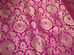 "44"" Stunning Beautiful Fancy Costume Crafting Sewing Gold Designer On Magenta Background Golden Woven Heavy Banarasi Blended Silk Floral Design Brocade Fabric By The Yard For Dupattas"
