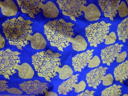 Banarasi Silk Brocade Fabric in Royal Blue Gold