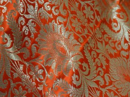 Brocade Fabric in Orange Gold Weaving  Banaras Brocade Fabric Wedding Dress Fabric Banarasi Blended Silk by the Yard dress fabric material brocade