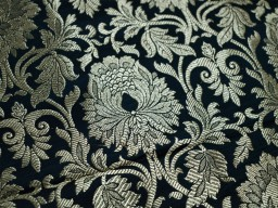 Black Gold Brocade Fabric Indian Brocade Fabric by the Yard Banarasi Fabric Wedding Dress Fabric Banaras Fabric