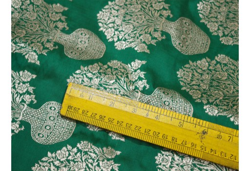 Banarasi Silk Brocade Fabric in Green Gold