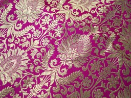 Benares Brocade Silk Magenta Gold Weaving for Wedding Dress