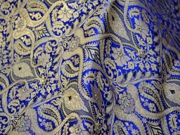 Brocade Fabric Royal Blue Gold Weaving Fabric