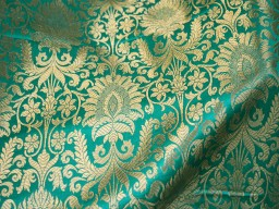 Brocade Fabric Sea Green Gold Weaving Banarasi Brocade Fabric Wedding Dress Fabric Brocade fabric by the Yard
