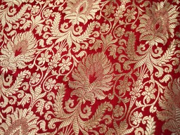 Red Banarasi Brocade Silk Gold Weaving for Wedding Dresses Gown Indian Art Silk Brocade