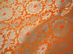 Benares Brocade Orange Gold Weaving for Wedding Fabric