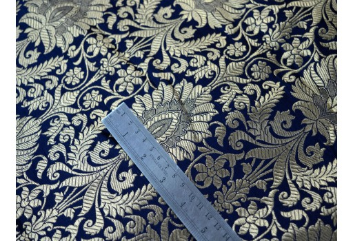 Navy Blue Gold Weaving Banarasi Silk Wedding Dress Brocade by the Yard gown making festive wear boutique material Lehenga Making christmas supplies clothing accessories