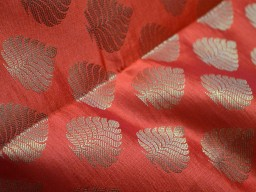 Brocade Fabric by the yard Dark Orange Benarasi