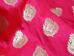 Indian Brocade Fabric sold by the yard Carrot Red Gold Bridal Wedding Dress Banaras Blended Silk Home Decor Cushion Cover evening jacket table runner