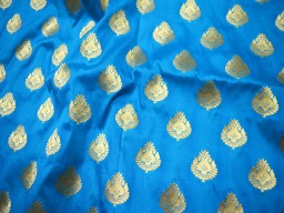 Bridal Wedding Dress Fabric Brocade Fabric sold by the yard in Turquoise Blue Gold Banarasi Brocade fabric Banarasi Fabric Blended Silk
