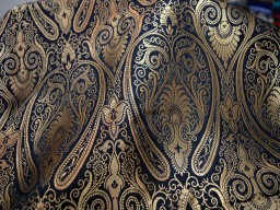 Black Brocade Fabric by the Yard  Benarase Fabric