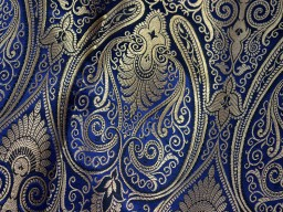 Lovely Navy Blue Brocade Fabric by the Yard