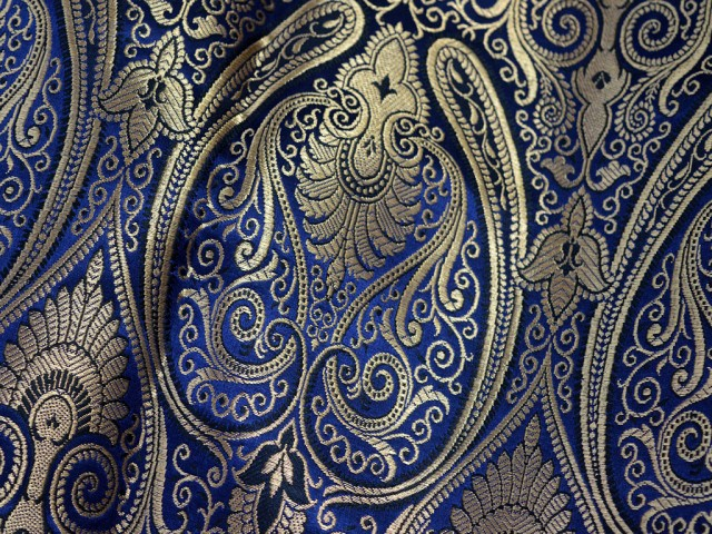 Navy Blue Brocade Fabric by the Yard Wedding Dress Banaras brocade for evening jacket table runner curtains home decor Indian Blended Silk