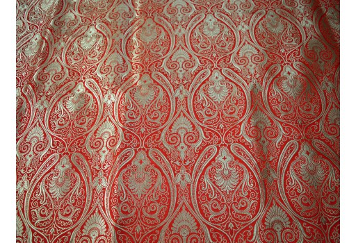 Red Brocade by the Yard Wedding Dress Fabric Banarasi Blended Silk Home Decor Table Runner Jacket Sofa Cover boutique Material Home Decoration Bed Sheets sewing accessories