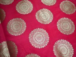 Brocade Fabric sold by the yard Carrot Red Gold Bridal Wedding Dress Fabric Banaras Brocade fabric Banarasi Fabric Blended silk