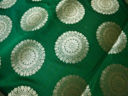 Green Silk Brocade Fabric by the Yard Banarasi Silk Brocade Fabric Banaras Brocade Blended Silk Fabric for Wedding Dress fabric
